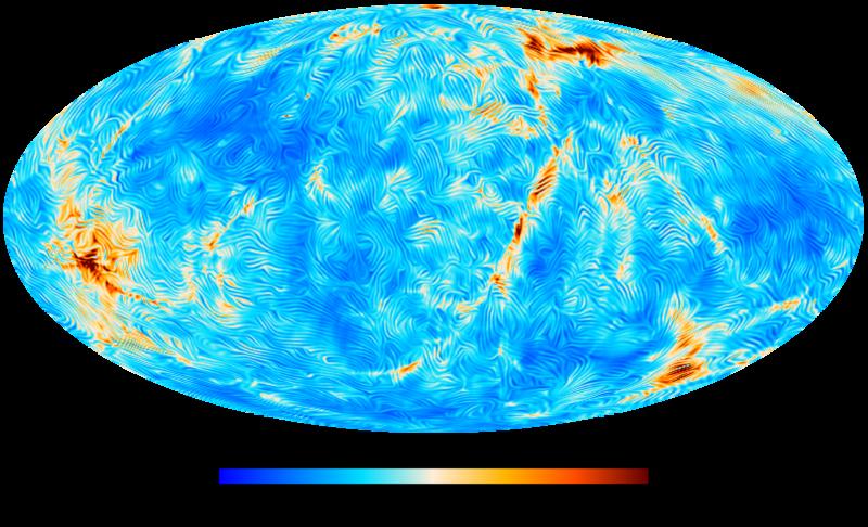 dell'intensità del campo magnetico e dell'orientamento delle componenti perpendicolari alla linea di vista, calcolate per una sfera di raggio 300 milioni di anni luce con centro sulla Terra. Crediti: MPA