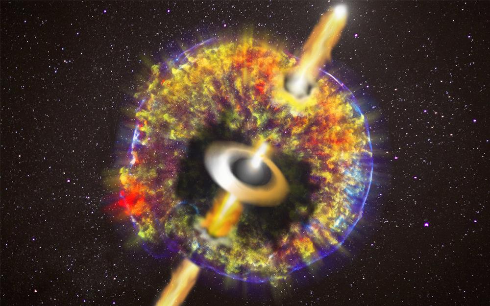 Getto che buca il materiale lanciato nello spazio dallo scontro delle due stelle di neutroni. Il getto è lanciato dal buco nero, circondato da un disco di materia calda, che si è formato dopo lo scontro. Crediti: illustrazione di O. S. Salafia e G. Ghirlanda.