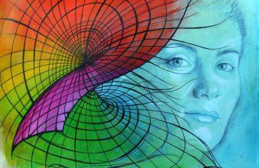 """Festival 2018 """"Teatro e Scienza: Matematica e altri Demoni"""" Maryam Mirzakhani (1977-2017 Iran/USA) - Medaglia Fields nel 2014 Opera di Angela BETTA CASALE - tecnica mista su carta Arches 56x76cm"""